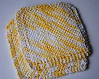 Set of 2 Cotton Dish Cloths, Yellows and White, 100% cotton, biodegradable, green, environmentally friendly