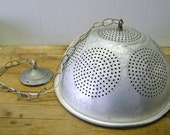 Vintage Repurposed Colander Chandelier Hanging Pendant Light Fixture