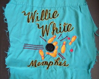 Vintage  Retro Bowling Shirt Remnant Scrap Back Piece Memphis Tennessee