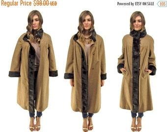 On Sale - Vintage Boho Coat, 60s Faux Suede Coat, Overcoat, Faux Fur Lined Coat, 60s Russian Coat, Midi Coat Δ fits sizes:  xs / sm / md