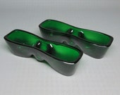 glass candle holder pair ANCHOR HOCKING forest green ???