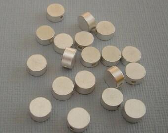 6pcs- Matte Silver Flat Round Beads, Wholesale  Brass Beads, Beading Supplies, Jewelry Making(6x3mm).