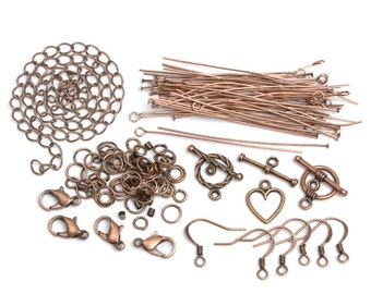 SALE 145 piece Jewelry Making starter kit Metal Findings Starter Pack earring setting lobster clasps, necklace chain Copper, Bronze, Silver