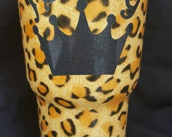 30oz, Rtic, Tumbler, Leopard Print, Personalized, with Initial or Name