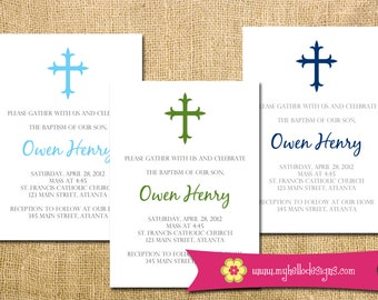 Baptism Invitation Printable DIY small cross simple delicate elegant boy girl any color print religion religious baptize christen church