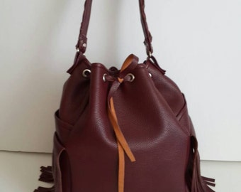 Burgundy Leather Hobo Bag, Top Handle Bag // Large Crossbody Bag