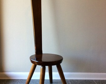 William Fetner Minimalist Paddle Keyhole Wooden Chair