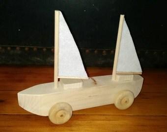 Wooden rolling boat