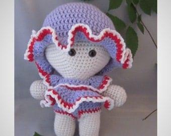Crochet Amigurumi Baby Doll with colorful Beach Summer Dress, Super cute, Cuddly Baby Doll, Soft Toy, Waldorf Doll, Stuffed Doll, Rag  Doll