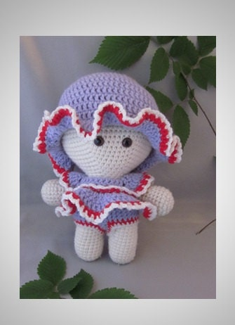 Crochet Amigurumi Baby Doll with colorful Beach Summer Dress