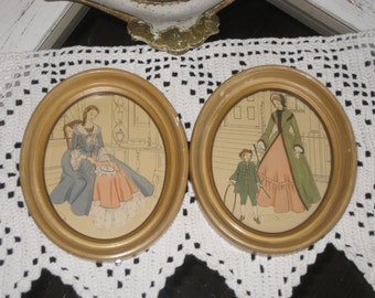 Pair of Vintage Gesso Framed Prints Under Glass - Fashionable Victorian Ladies