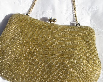 Vintage Gold Beaded Bag, Beaded Evening Purse, Sparkly Diamond Rhinestone Kiss Lock Clasp, Mad Men Era Bag, Gold Beads, Cinderella Wear