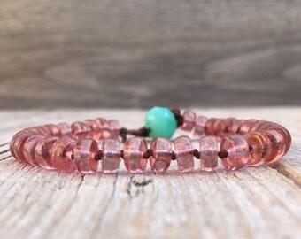 Boho hippie Beaded knotted crochet single wrap bracelet - artisan boho - yoga boho - boho bracelet - boho wrap bracelet