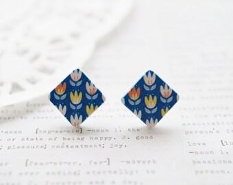 Wooden Square Blue Tulips Stud Earrings