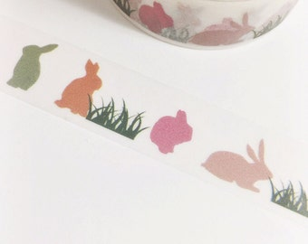Colorful Pastel Easter Bunnies Washi Tape 11 yards 10 meters 15mm Colorful Rabbit Bunny Rabbit