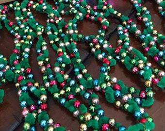 Vintage Multi Color Mercury Glass Green Chenille Christmas Garland 1960 Christmas Kitsch Pipe Cleaner Christmas Garland