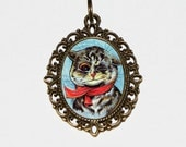 Cat Necklace, Winking Cat, Louis Wain Cats, Kitty Cat, Cat Jewelry, Oval Pendant