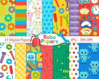 Robo Papers 2 -  Digital Paper Set - Robot digital papers