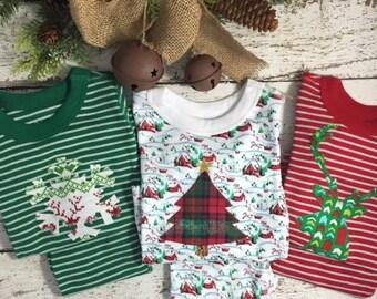 Holiday Pajamas Boys and Girls Christmas pj striped organic pajama set fair isle pajama design baby toddler children's pajamas Christmas pjs