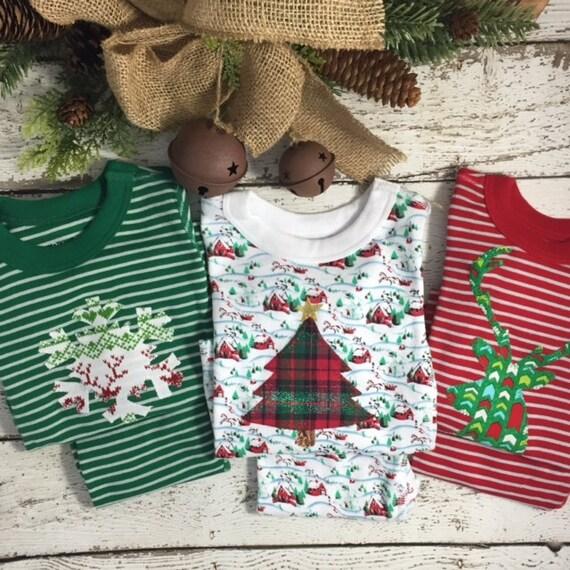 Holiday Pajamas Boys and Girls Christmas pj striped organic