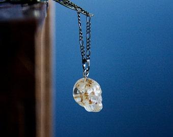 Small Skull Necklace Dried Flower Crystal Skull Tiny Skull Pendant Skeleton Necklace Spooky Skull Jewelry - N327