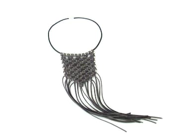 Suede Leather Statement Necklace, Knotted Long  Statement Necklace, Bib Necklace, Fringe Necklace, Macrame Necklace