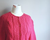 Hot Pink Cardigan   Magenta Sweater   Fuzzy Sweater   Oversize Sweater   Slouchy Style   Wool Sweater