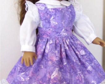 """Purple Butterfly Print Pinafore, Headband and Blouse Fits American Girl Dolls or Similar 18"""" Dolls"""