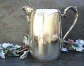Vintage Silver Water Pitcher, Shabby Chic Wedding Centerpiece, Flower Arrangement, Jug Vase, Sheridan Silverplate Coffee Pot