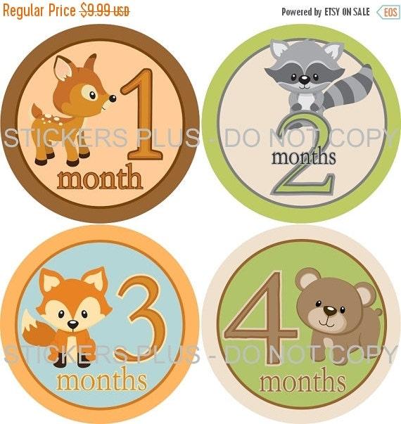 SALE Monthly Baby Boy Milestone Stickers Baby Month Stickers Plus FREE Gift Woodland Forest Animal Shower Gift Newborn Bodysuit Age Stickers