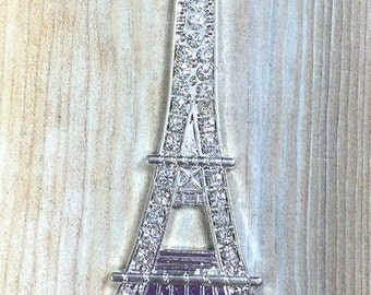 84mm x 33mm x 2mm Rhinestone Silver Eiffel Tower Pendant - Paris - Chunky Bead Necklace - Chunky Necklace - DIY Necklace