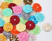 "Mini Fabric YoYo 1"" Flowers yo yo's mixed colors with pearl center make headbands appliques embellishments wholesale yoyos mix colors 1 inch"