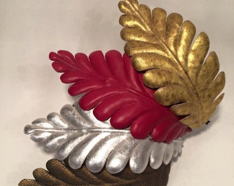 1 Leather headpiece with handmade leaf