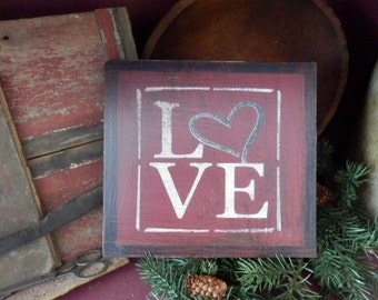 PriMiTiVe -  LovE - HandpaINtEd WooDen SiGn - AwesOme - SimPLe EarLy LoOk