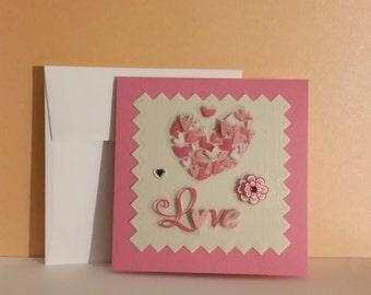 valentine card, handmade card, seasonal card, greeting card, love, sweetheart, for anyone,