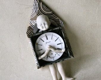 Art Doll Handmade With Vintage Watch Face for Home or Office Decor