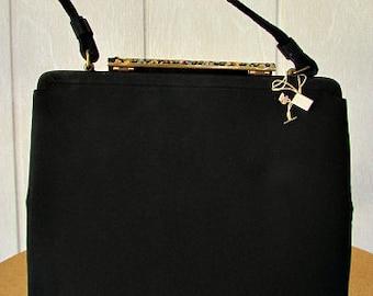 vintage 40s black fabric framed kelly satchel bag purse nos floral needlepoint flip top closure   vegan