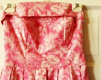Laura Ashley Pink Strapless Sun Dress, S