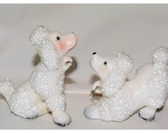 2 White Sugared Spaghetti  Poodles from Japan