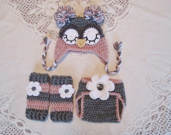 Dark Grey and Light Raspberry Owl Hat, Diaper Cover and Leg Warmers - Photo Prop Set - Available in Newborn to 12 Months
