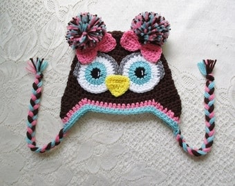 Dark Brown, Medium Pink and Aqua Crochet Owl Hat - Photo Prop - Available in Any Size or Color Combination