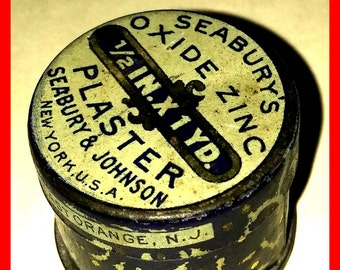TIN Can Antique Old Medical Seabury's Oxide Zinc Plaster 1908