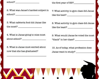 College Graduation Party Game-Who knows the graduate the best!