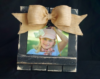 Barnwood Picture Frame, Shabby Chic Picture Frame, Bow Picture Frame, Embellished Picture Frame, Burlap Bow Wedding Frame