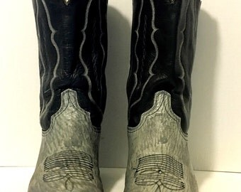 Grey, Blue and White Stitched Abilene Cowboy Boots size 10D womans 11 1/2