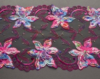 Sparkly Rainbow Colors Fabric, Multicolored Lace Trim, Sparkly Fairy Costume, Lingerie, Couture Sewing, Textile Art