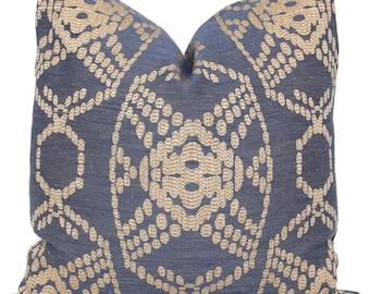 Decorative Pillow Cover, Indigo and Tan Woven, 18x18, 20x20, 22x22, 24x24, Eurosham or lumbar pillow,  Accent Pillow, Throw Pillow cover