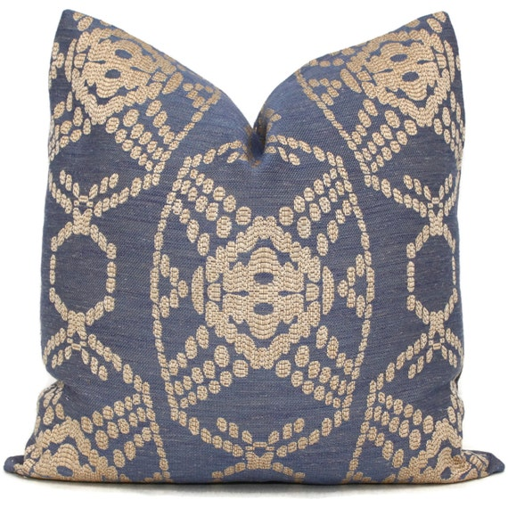 Decorative Pillow Cover Indigo and Tan Woven 18x18 20x20