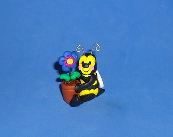 Polymer Clay Bee with Flower Pot