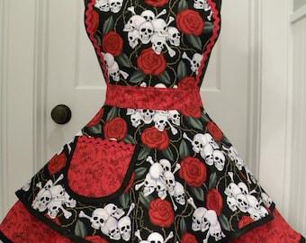 Womens Apron-Skulls & Roses Flounce Apron
